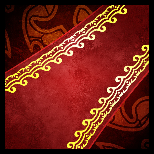 Icon for the Red Carpet ability, depicting a lush red carpet with fanciful gold trim.